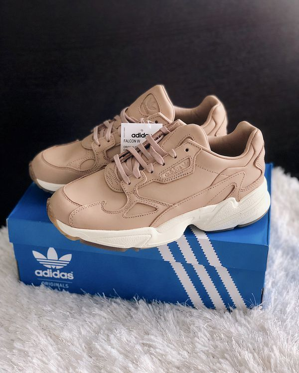 New ADIDAS Falcon Leather Chunky Sneakers Ash Pearl Womens ...