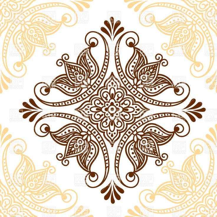Henna Mehndi Vector Free Download : Ornamental mehndi style flower indian ethnic tracery for tattoo download royalty free vector