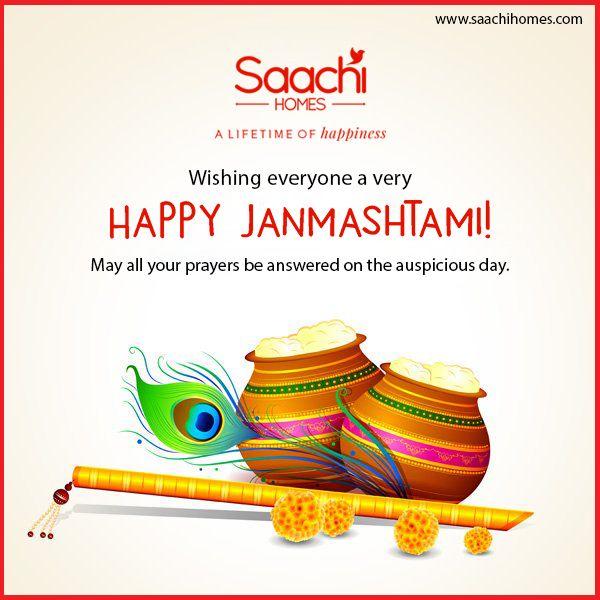 Let us rejoice on the auspicious day of Lord Krishna's birthday; the most mischievous, kind-hearted, loving, caring and colourful God in our Hindu scripture. May he bless you and your loved ones with everything you desire of. Hare Rama, Hare Krishna! Happy Janmashtami - SaachiHomes
