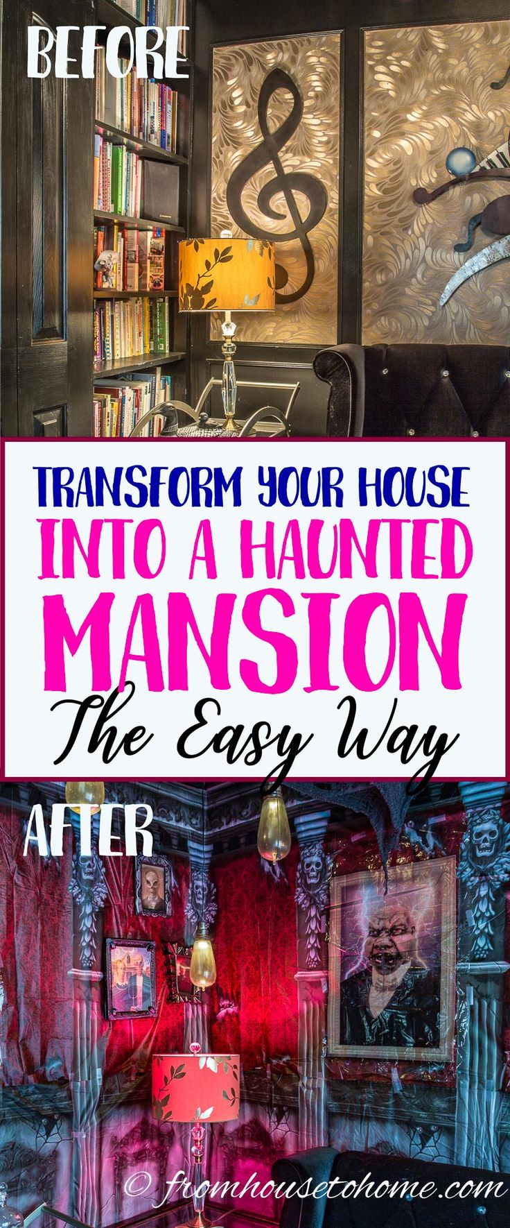 Learn the easiest way to transform your house into a spooky haunted mansion or dungeon with this step-by-step tutorial for installing Halloween scene setters.