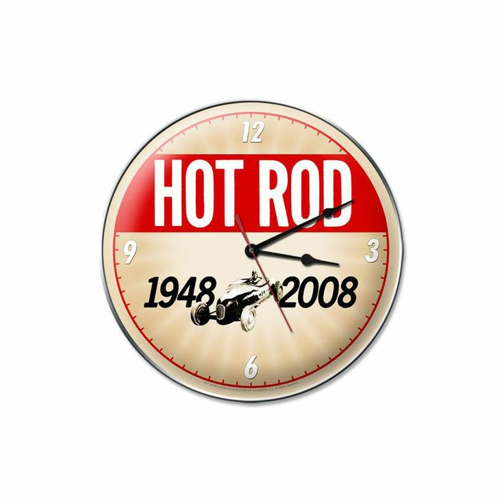 From the Hot Rod Magazine licensed collection, this 60th Anniversary clock measures 14 inches by 14 inches and weighs in at 3 lb(s). We hand make all of our clocks in the USA using heavy gauge american steel and a process known as sublimation, where the image is baked into a powder coating for a durable and long lasting finish. This clock includes an american made quartz clock movement (requires one AA battery) for years of accurate time keeping and is covered with a clear acrylic lens.