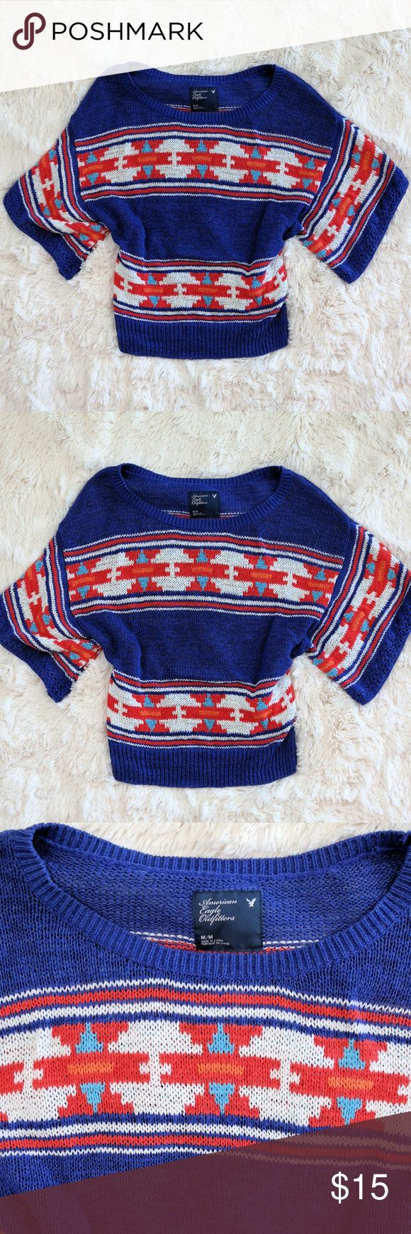 American Eagle Aztec Sweater American Eagle Outfitters Aztec style sweater with dolman sleeves Size medium American Eagle Outfitters Sweaters #americaneagleoutfitters