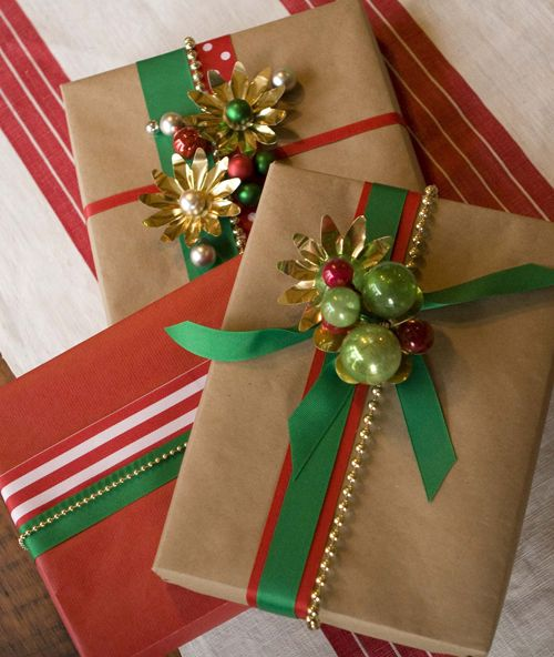 A Green Christmas—gift wrap looks embellished with small ornaments❣ Julia Usher