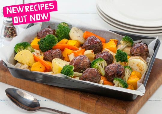 Glazed meatball and vege bake - this would go down a treat with my family.