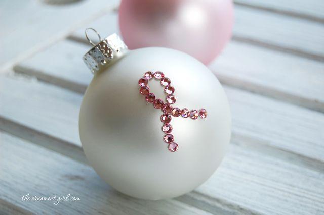 DIY Pink Ribbon Breast Cancer Awareness Ornament - takes 10 minutes to make!