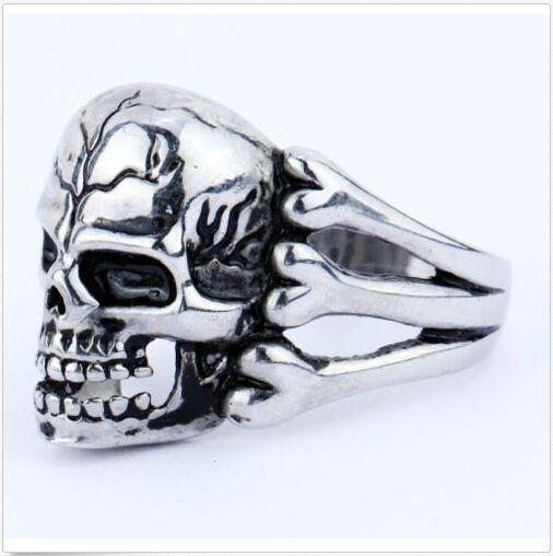 2015 Man's Ring Gothic Men's Skull Flower Biker Zinc alloy Ring Man fashion rings Free shipping