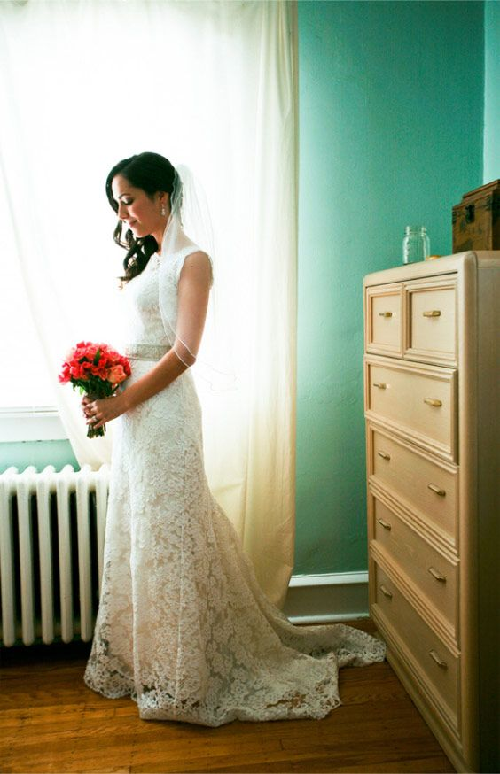 A wedding gown made completely by the bride's mother. GORGEOUS!
