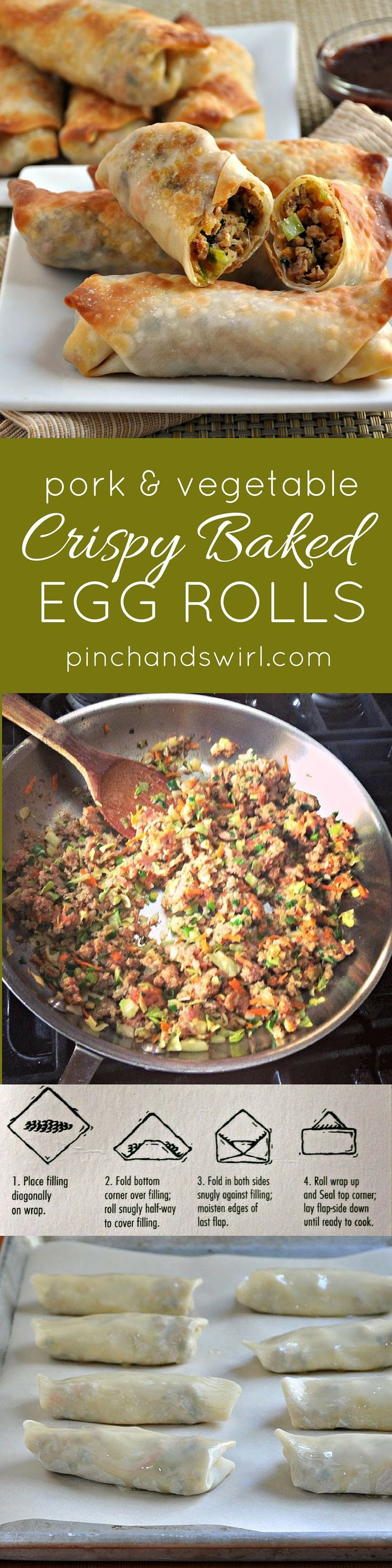 Pork and Vegetable Crispy Baked Egg Rolls - so easy to make and crispy without frying! #healthyrecipes #pork #asianfood