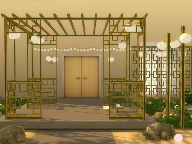 Inspired Lantern Set. 9 Modern and Contemporary Lamps or Lanterns, with Fabric Shades, plus 1 decorative sculpture trellis, with an Asian flare, in 5 and 6 colors. Lights by DOT of The Sims...