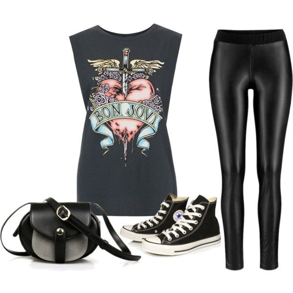 Biker wear by be-vocal on Polyvore featuring Converse