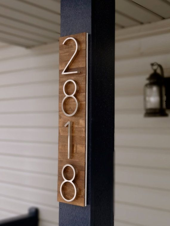Modern House Numbers Plaque on Stained Wood by TheDetailed on Etsy
