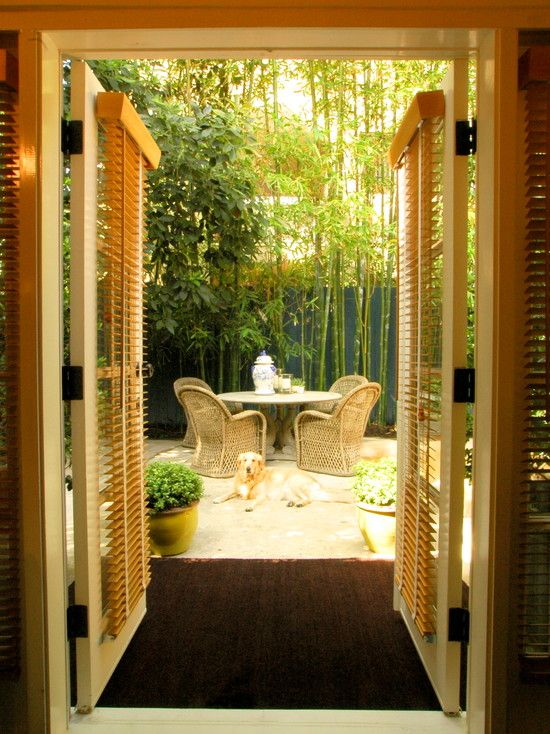 patio furniture asian style garden design with bamboo trees