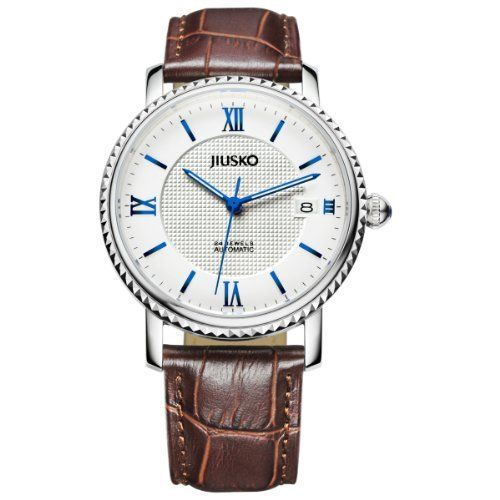 Jiusko Mens 24 Jewel Automatic Dress Wrist Watch - Sapphire - Exhibition Caseback - Date - Blue Hands - Brown Leather Strap - 140MRG0109. DRESS WATCH FOR MENS; Classically sized at 42mm. Silver, Brown and Blue combination; suitable for everyday, business meetings as well as evening dress. DEPENDABLE AUTOMATIC MOVEMENT; Japanese 24 Jeweled Seiko Automatic Movement - 21,600 bph - 40 Hours power reserve. Automatic watches do not operate on batteries. An automatic watch is a watch that…