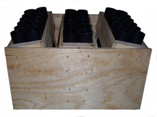 """36-shot fireworks mortar rack. 10 degree angle on left and right. Each row holds 12 HDPE DR11 12"""" mortar tube."""