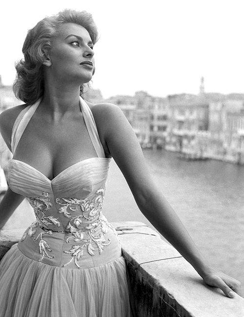 Sophia Loren on a terrace on the canal grande in Venice, 1955.