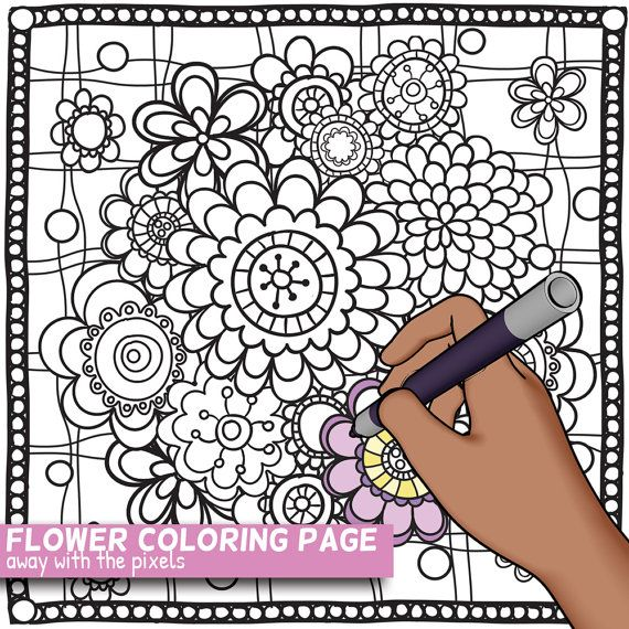 Hand Drawn Doodle Flower Coloring Page By
