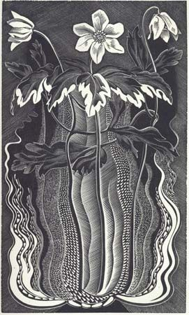 Gertrude Hermes (British, 1901-1983). From: Irene Gosse, A Florilege: Chosen from the Old Herbals, 1931. (wood engraving)