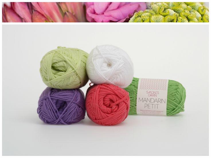 Inspirert av blomster, Mandarin Petit. 1001, 4317, 5226, 9023, 8514. #farger #fargekombinasjon #inspirasjon #blomster #garn