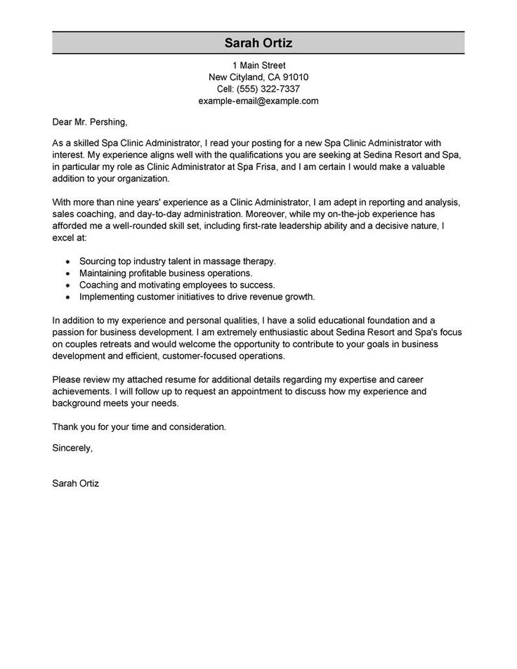 Example Of A Professional Cover Letter - Nature cover letter example