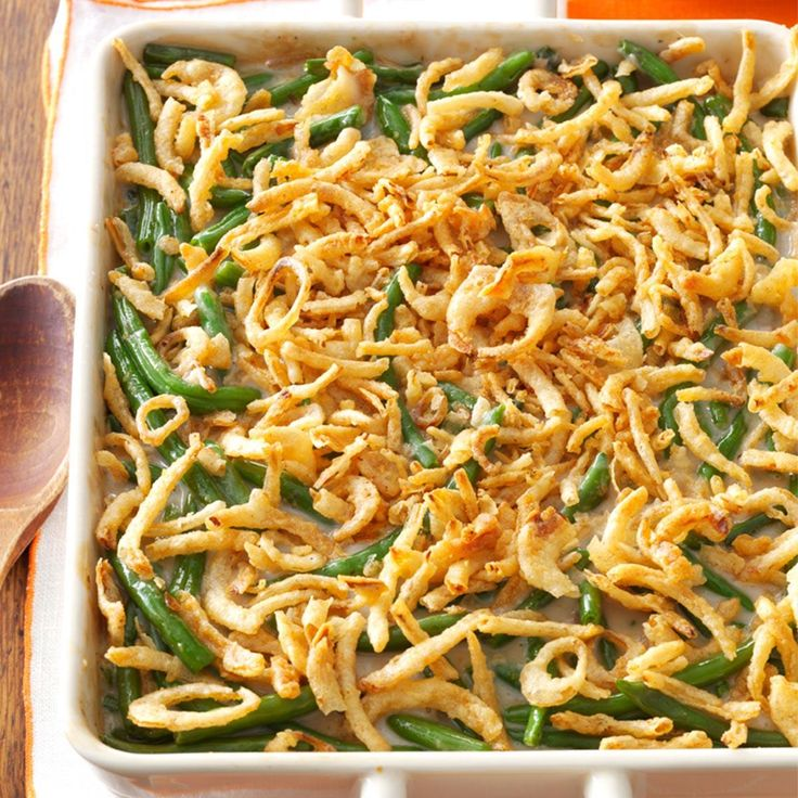 Green Bean Casserole Recipe -This green bean casserole has always been one of my favorite convenience dishes. It can be prepared ahead and refrigerated until ready to bake. —Anna Baker, Blaine, Washington