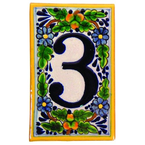 Hand Painted House Number '3' in Peaches