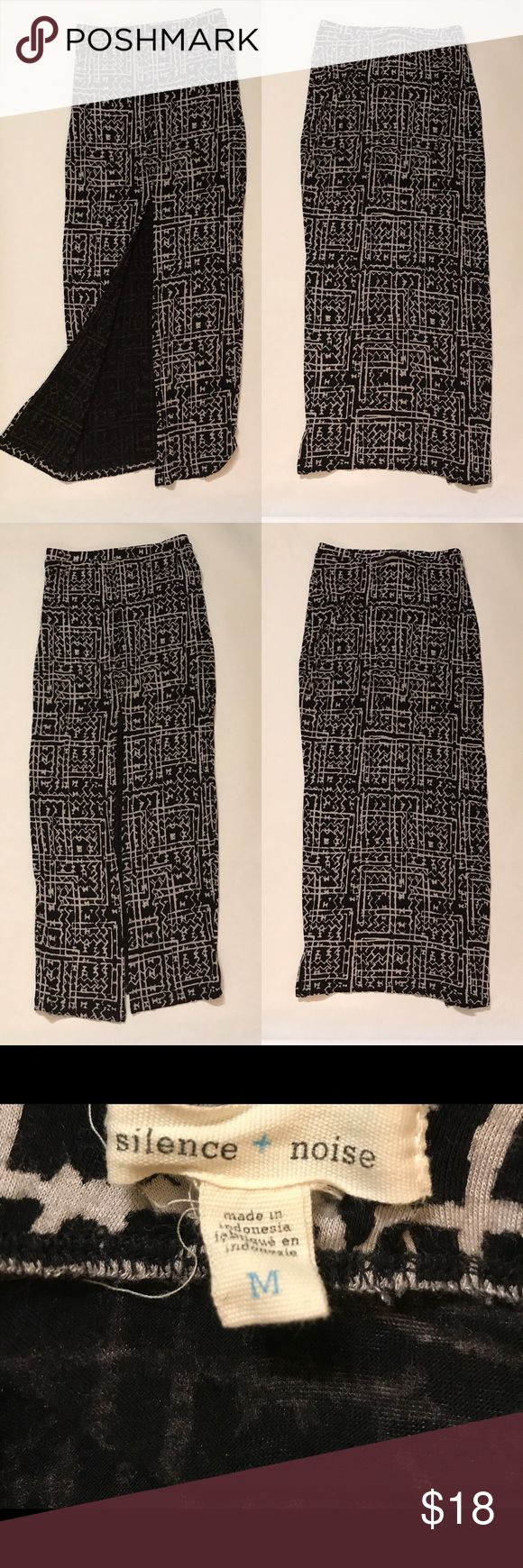 "Silence + Noise Tribal Maxi Skirt Front Slit Sz M Approximate Measurements  • waist- 28"" • length-40""  Fabric- 96% Rayon, 4% Spandex silence + noise Skirts Maxi"