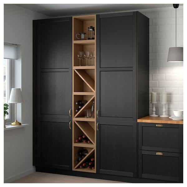 VADHOLMA Wine shelf brown, stained