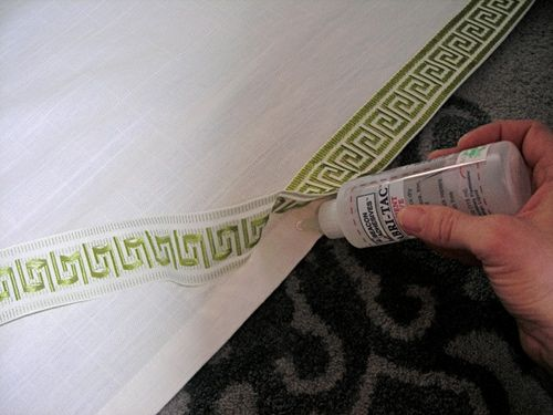 greek key bordered curtain panels | Dressing Up Plain Curtains with a $3 bottle of FabriTac