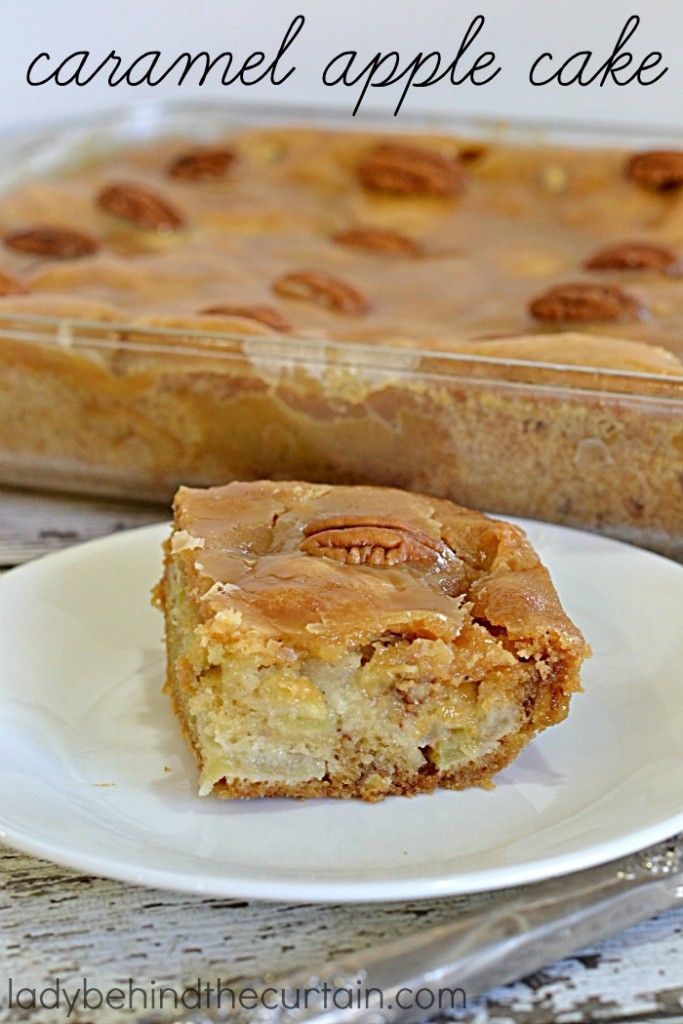 Caramel Apple Cake   A moist cake full of apples, pecans and topped with a delicious caramel icing. This unique cake is started in a cold oven and unlike