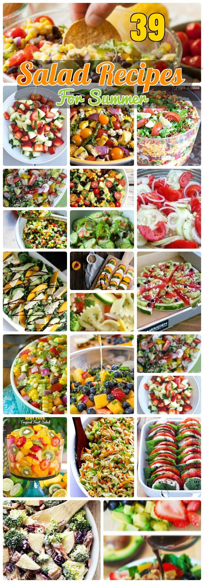 39 Vigorous Salad Recipes for Scorching Summer. Salad Recipes for party food ideas with chopped veggies, Corn, Cucumbers, some skin hydrating healthy fruit salads. Egg broccoli and Mexican salad recipes with Scrumptious Dressing and Pizza vegetarian salads for kids.