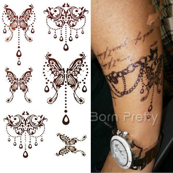 $4.39 1 Sheet Mehndi Paisley Tattoo Decals Henna Art Butterfly Waterproof Paper Temporary Tattoo - BornPrettyStore.com