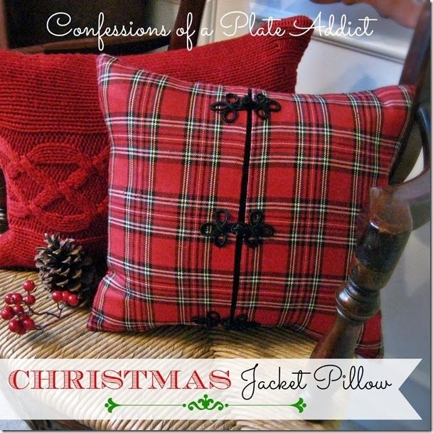 CONFESSIONS OF A PLATE ADDICT A Cozy Christmas Pillow...from a Jacket!