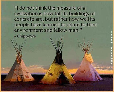 I do not think the measure of a civilization is how tall its buildings of concrete are, but rather how well its people have learned to relate to their environment and fellow man.  ~ Chippewa
