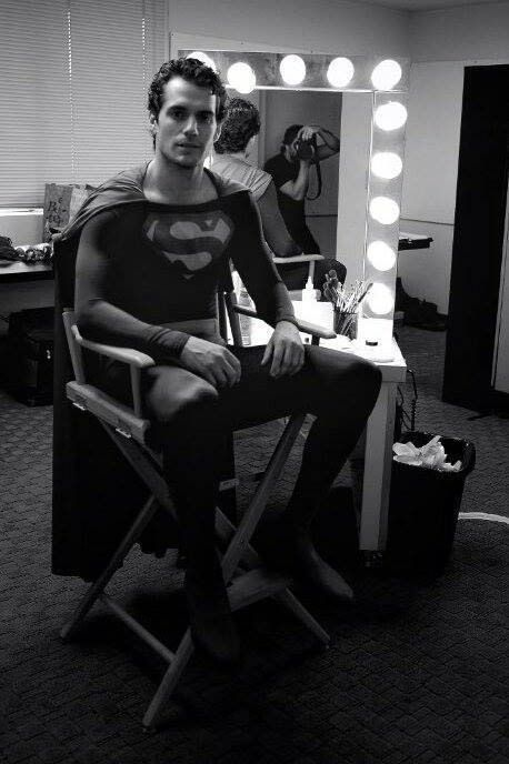 Henry Cavill screen testing in Christopher Reeve's original Superman suit for MAN OF STEEL.