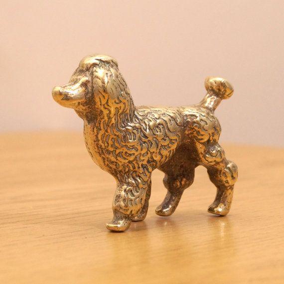 Solid brass poodle small dog sculpture vintage pooch