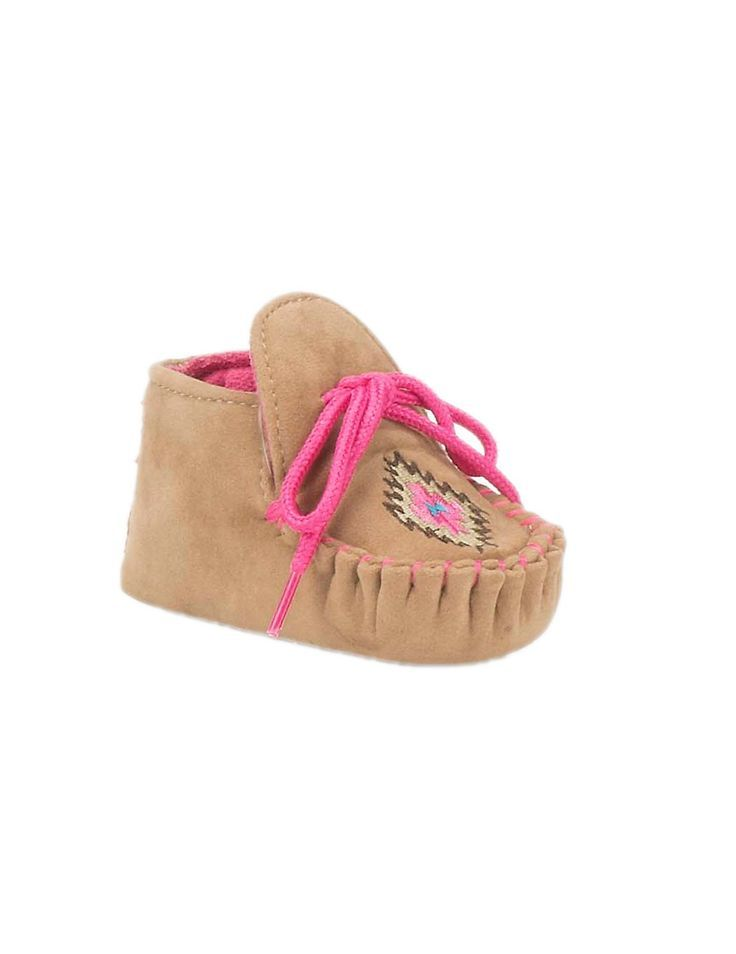 Blazin Roxx Infant Brown with Pink Laces and Aztec Print Moccasin | Cavender's