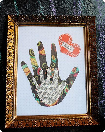 Family Handprint Art: Handprint Families, Hands Prints Crafts, Toddlers Projects, Cute Ideas, Handprint Art, Kids Crafts, Handprint Pictures, Scrapbook Paper, Handprint Families Art