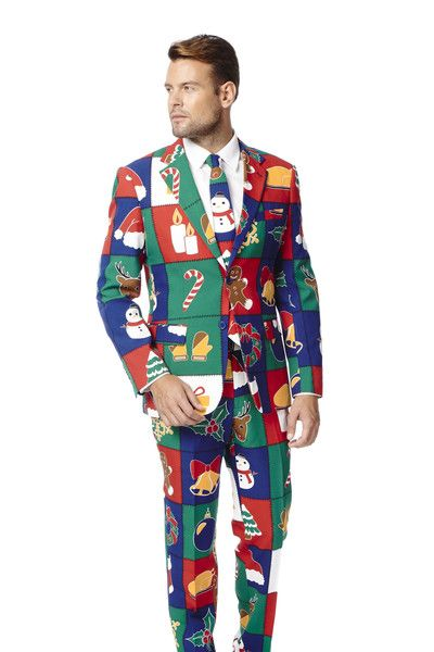 Shinesty's TOUCH ME TWICE NAUGHTY OR NICE CHRISTMAS SUIT | Get all your holiday gear, ugly sweaters, and all manner of outrageous threads at Shinesty.com