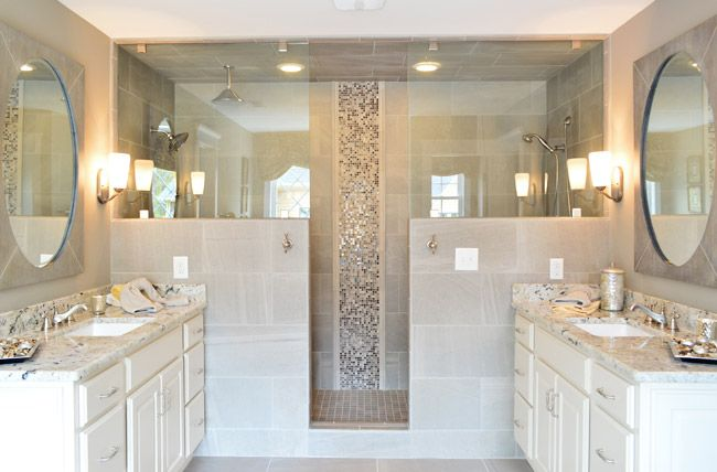 I like this shower idea -- the top is glass and the bottom is tile {Home built by LifeStyle Builders and designed by Priscilla George, via Young House Love}
