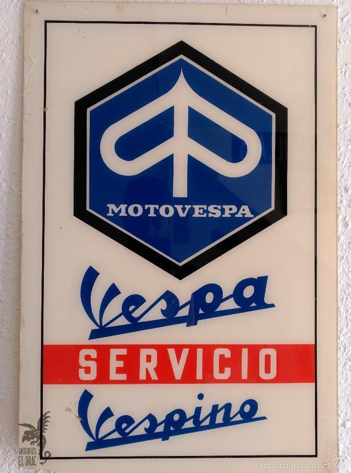 CARTEL VESPA SERVICIO VESPINO MOTOVESPA A UNA CARA ORIGINAL DE LA ÉPOCA - Foto 1
