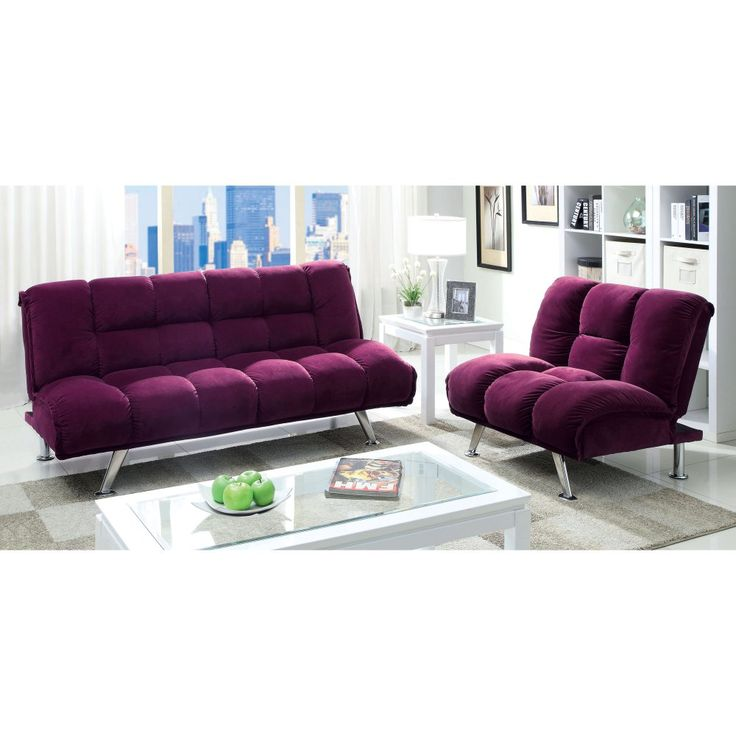 Furniture Of America Maybeline Modern Flannelette Futon Set   Overstock™  Shopping   Great Deals On Furniture Of America Sofas U0026 Loveseats Part 77