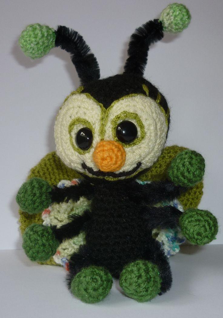 Zöld bogár, horgolt, zseníliadróttal