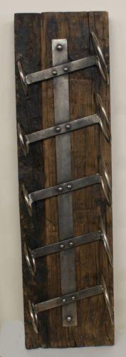 Rustic Homewares Reclaimed Wood and Forged Metal 5 Bottle Wine Rack £72.00