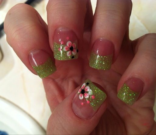 Lime Green And Pink Floral Acrylic Nails