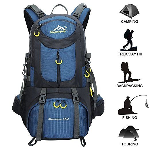 Hiking Backpack 50L Waterproof Huwaijianfeng Backpack Outdoor Sport Daypack with a Rain Cover for Climbing Mountaineering Fishing Travel Cycling : Sports & Outdoors