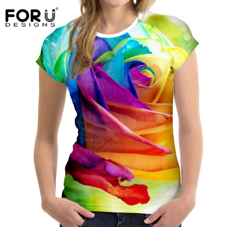 New Arrivals Summer Women's T-shirt Slim Soft T Shirt Full Printed Floral Tshirt Female Pink Multi Color Short Shirt Ladies