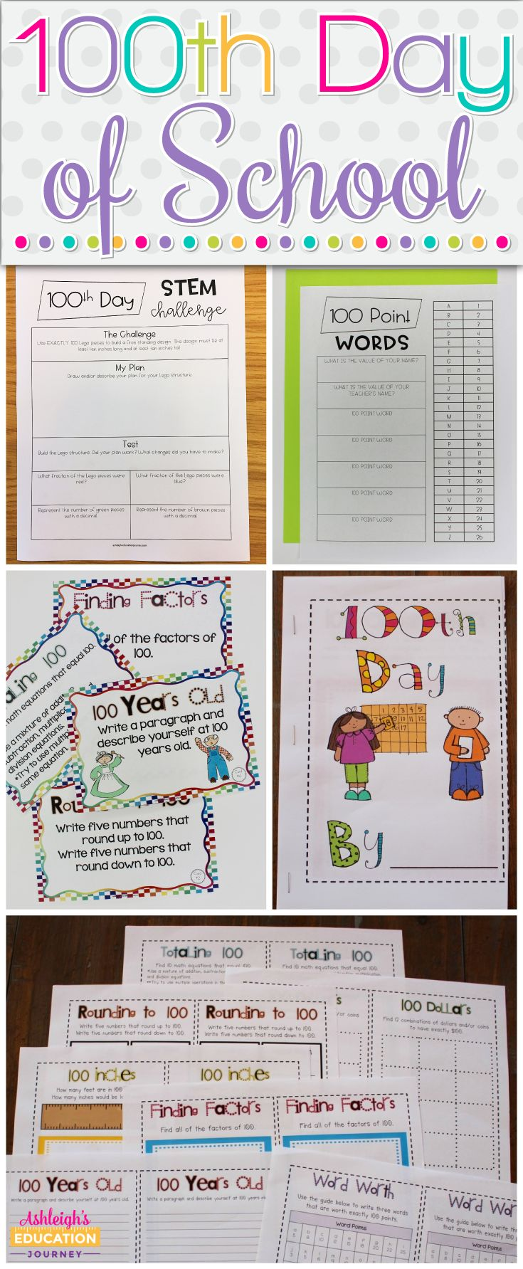 Enjoy these 100th day of school activities and games geared for upper elementary students!