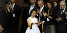 Maria Jose Araujo is a 15 year-old girl who was chosen to carry the presidential sash in the official appointment of Ecuadorian President, Rafael Correa.