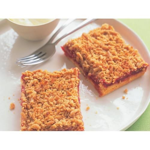 """Apple and rhubarb streusel slice recipe - By Australian Women's Weekly, The German term for """"sprinkle"""", a streusel is great to have with tea or coffee mid-morning on a chilly weekend, and this one's rhubarb and apple filling gives it a wonderfully homely flavour."""