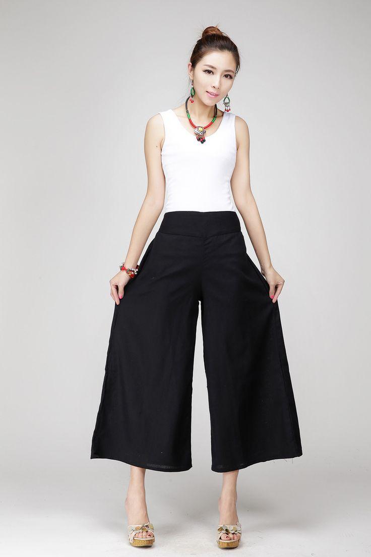 Pantalones-anchos-de-la-pierna-de-mujer-lino-blanca-pantalones-de-algodoacuten-m